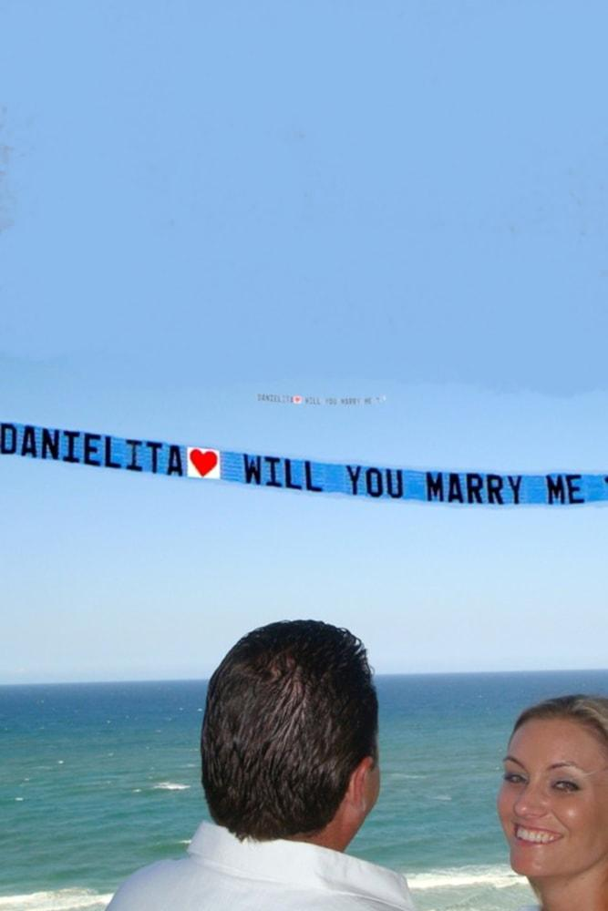 Beach Proposal Ideas Airplane Banner Above The Beach sky