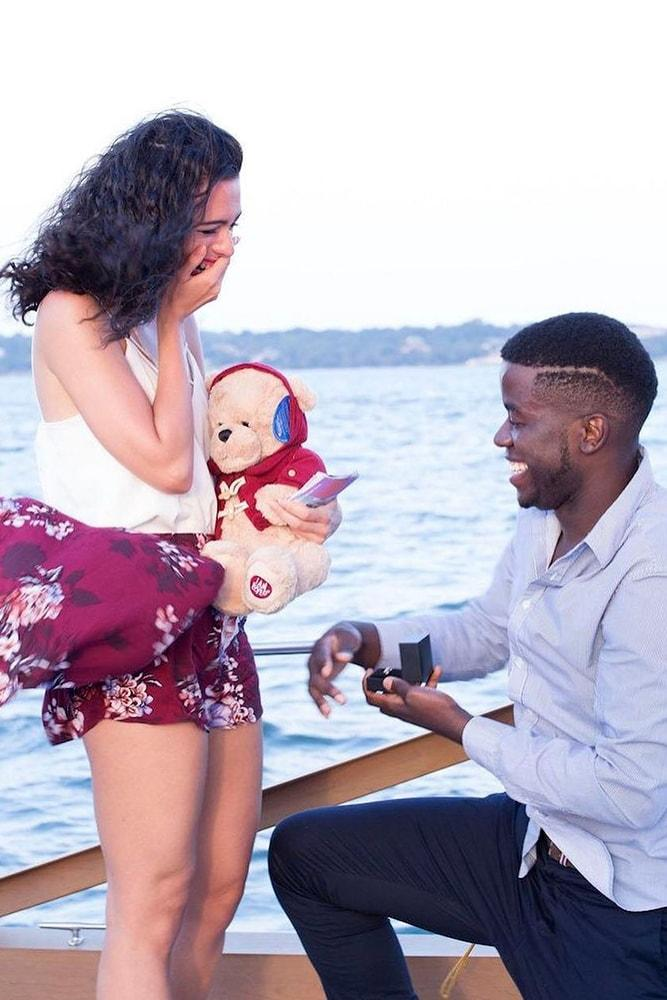 Beach Proposal Ideas Boat Ride Romantic Proposal With Teddy Bear On The Yacht