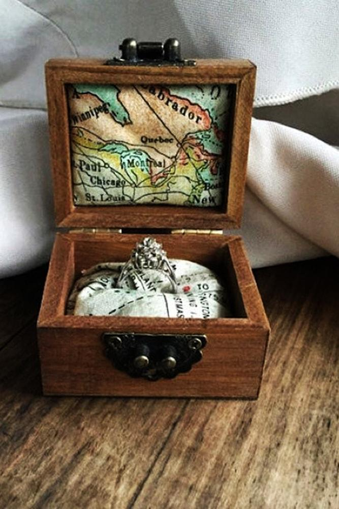 Beach Proposal Ideas Buried Treasure Wooden Chest With Map And Engagement Ring
