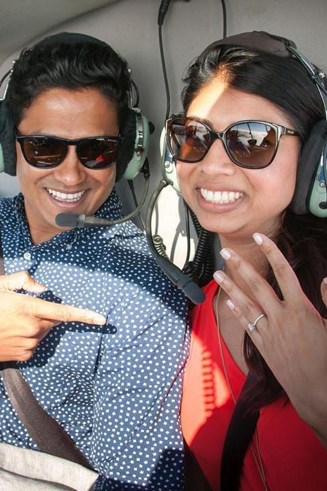Beach Proposal Ideas Helicopter Ride Sparkling Engagement Ring Love In The Air
