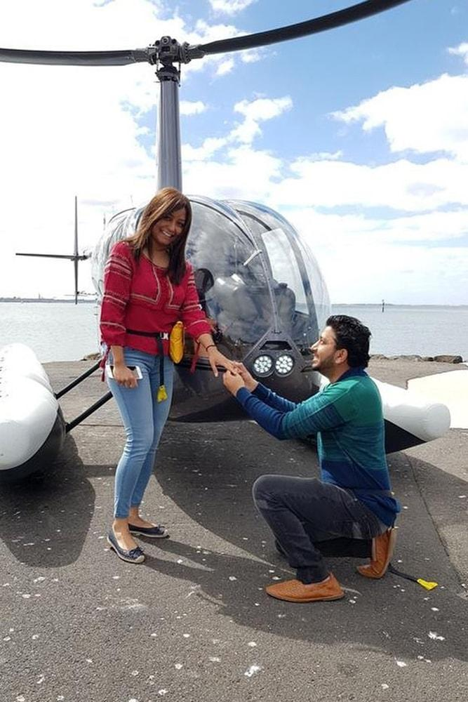 Beach Proposal Ideas Helicopter Ride Unexpectable Proposal