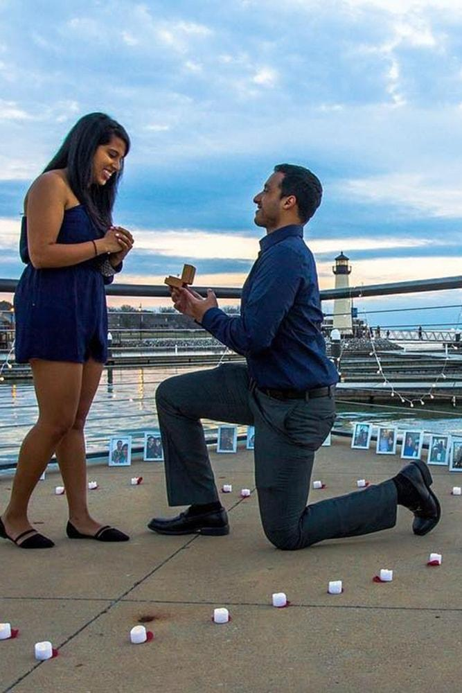 Beach Proposal Ideas Lighthouse Proposal With Candles And Photos