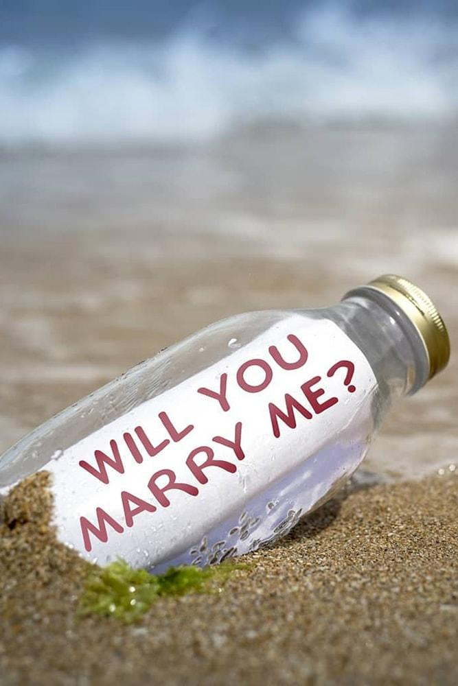 Beach Proposal Ideas Message In A Bottle In The Sand Will You Marry Me