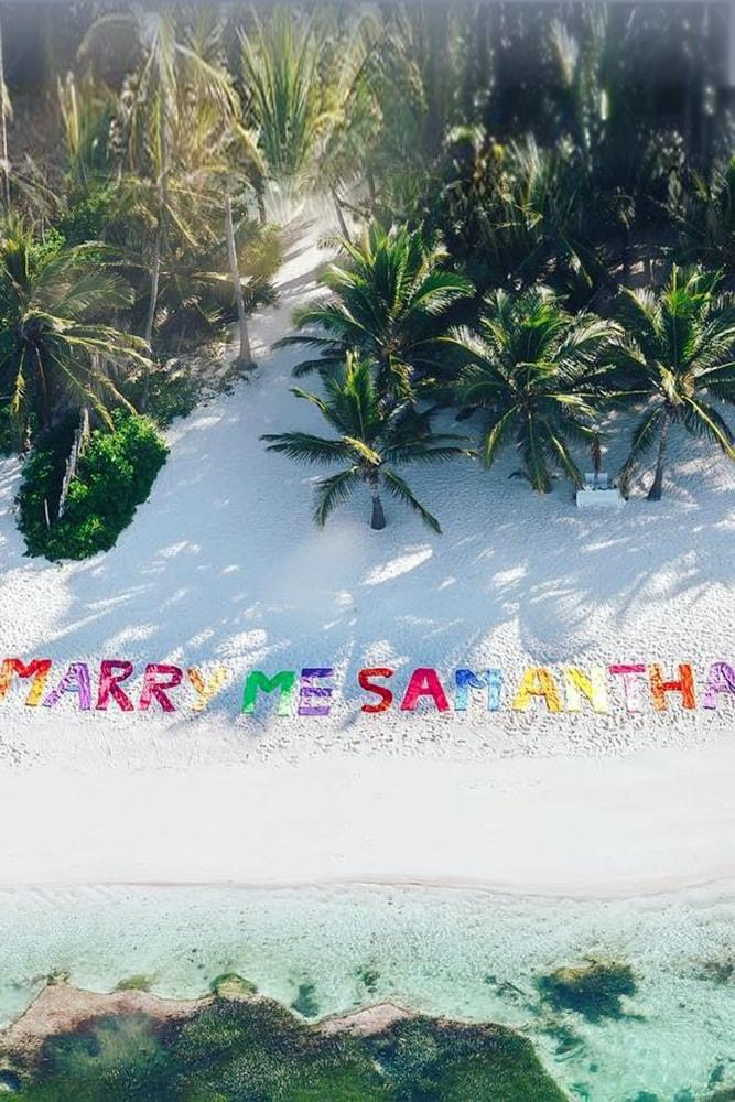 Beach Proposal Ideas Write It In The Sand Marry Me Beach And Palm Trees