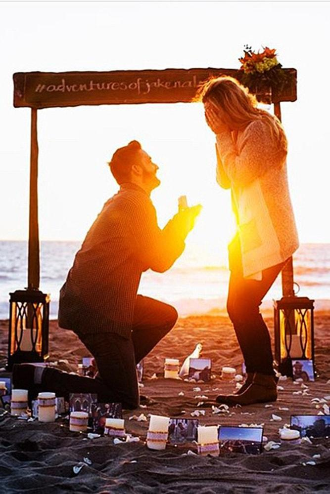 Beach Proposal Ideas Write It In The Sand With Candles And Photos Sunset