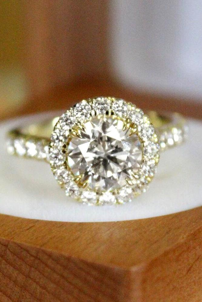 brilliant earth diamond halo round cut yellow gold engagement ring