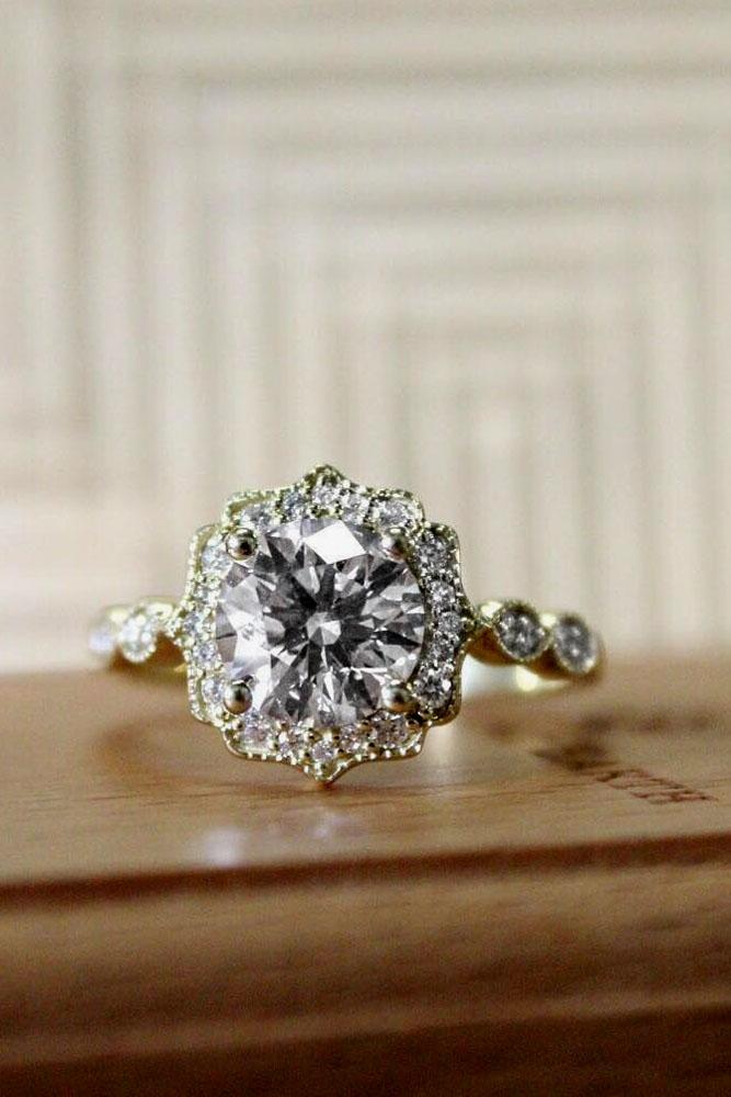 brilliant earth halo gold vintage engagement ring
