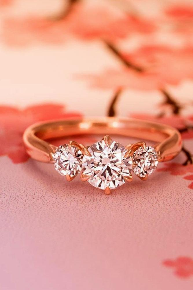 brilliant earth three stones round cut diamonds engagement ring rose gold