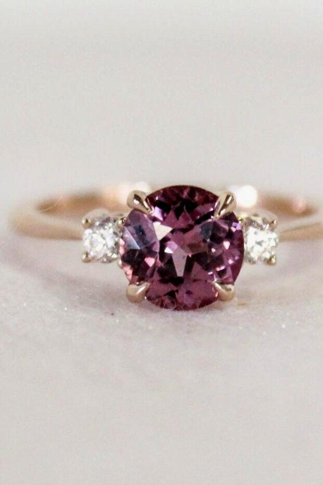 brilliant earth three stones round cut engagement ring purple gemstone and diamonds