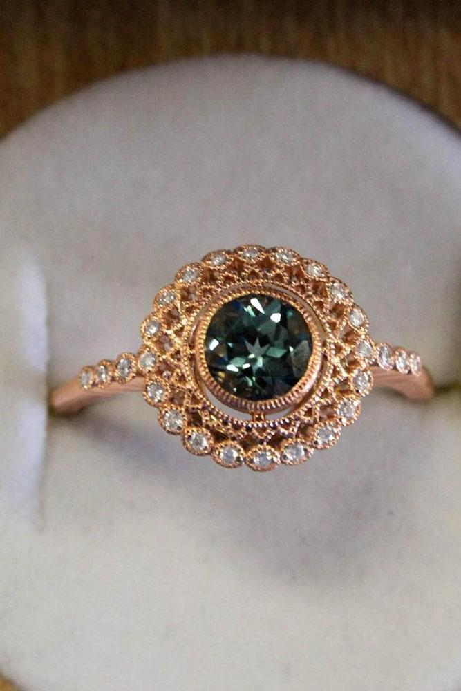 brilliant earth vintage engagement ring round gemstone rose gold