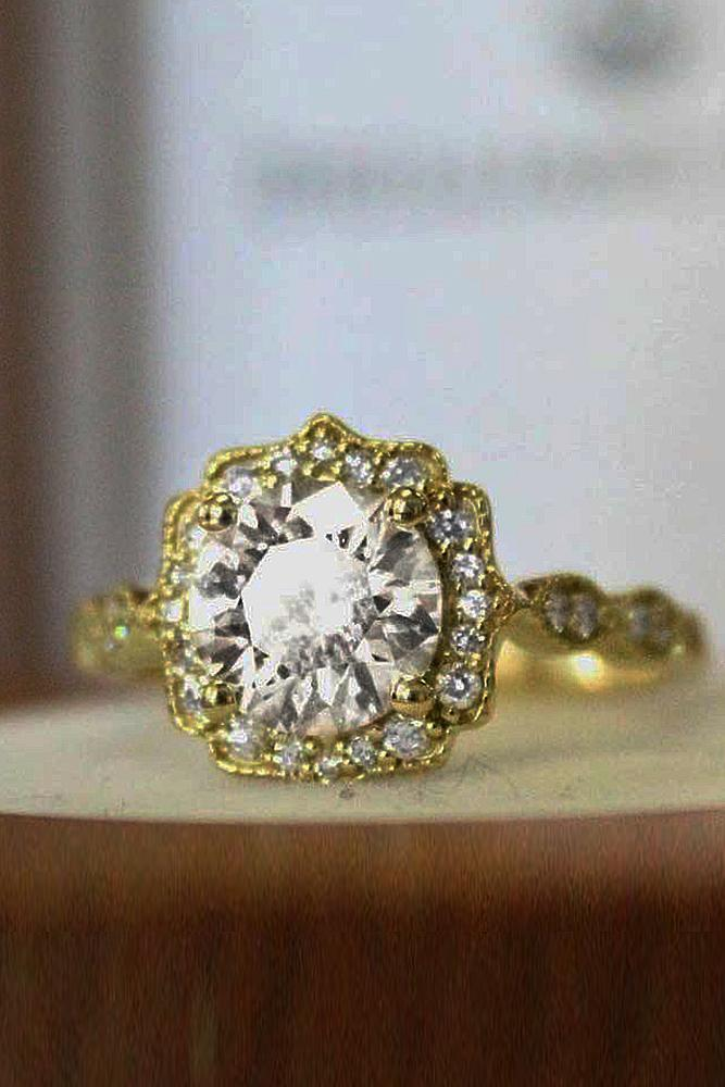 brilliant earth yellow gold round cut vintage diamond