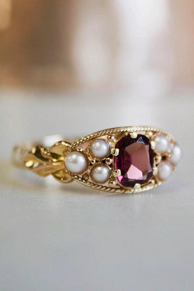brilliant earth yellow gold vintage ruby pearls