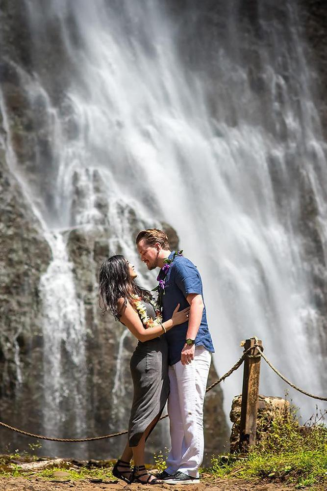 proposals intimate moment near a waterfall