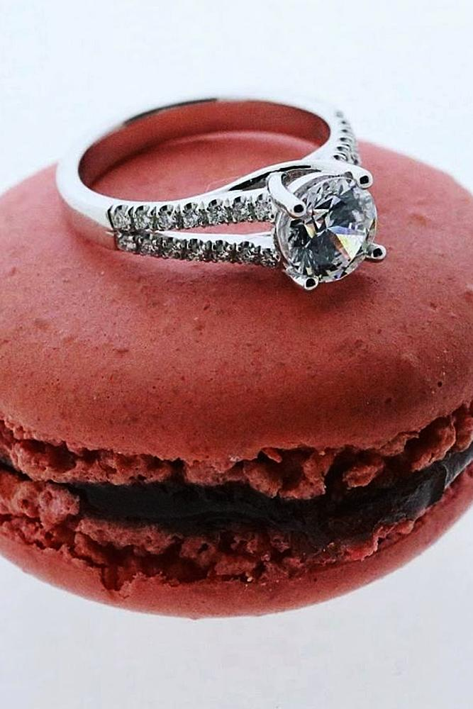 wedding proposal ideas round cut engagement ring macaron