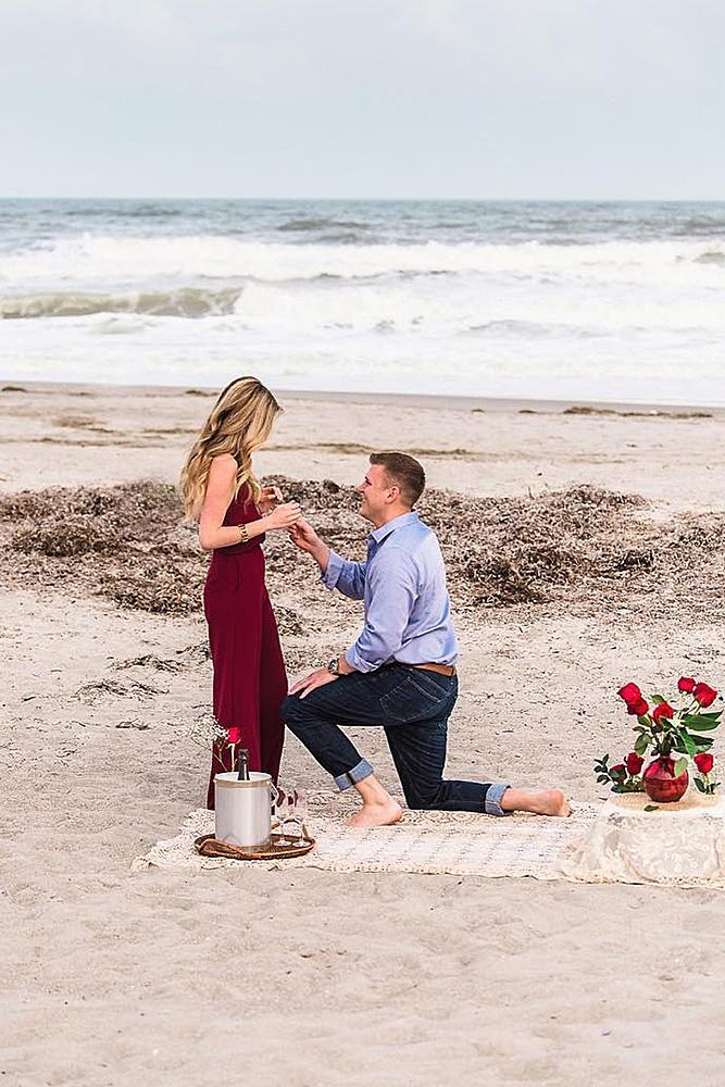 beach proposal picnic surprise proposal