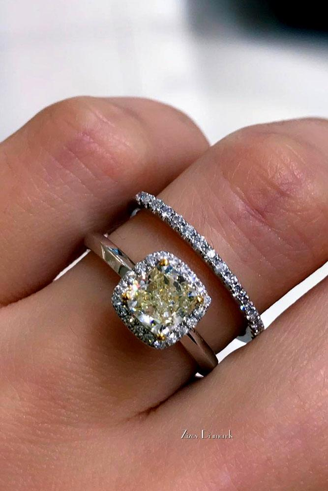 cushion cut engagement rings colored diamond halo