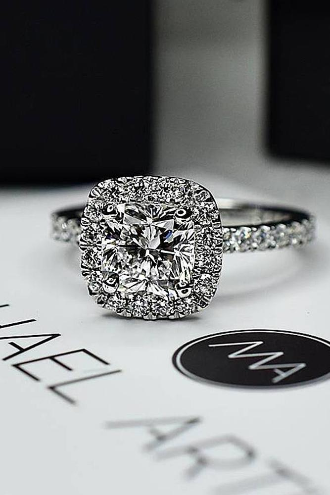 cushion cut engagement rings diamond halo pave band white gold
