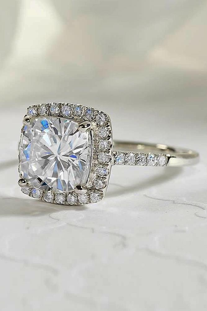 cushion cut engagement rings diamond halo white gold pave band