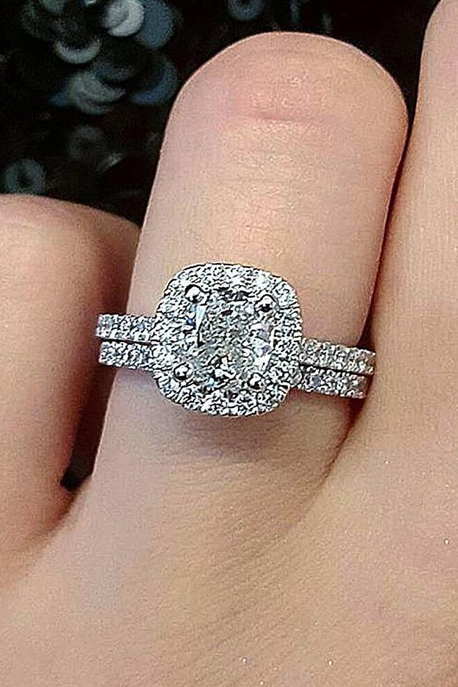 cushion cut engagement rings halo diamond split pave band
