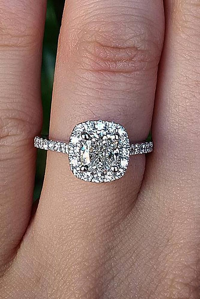 cushion cut engagement rings halo pave band diamond