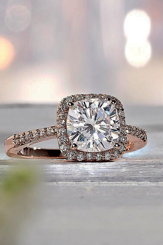 cushion cut engagement rings halo rose gold pave band