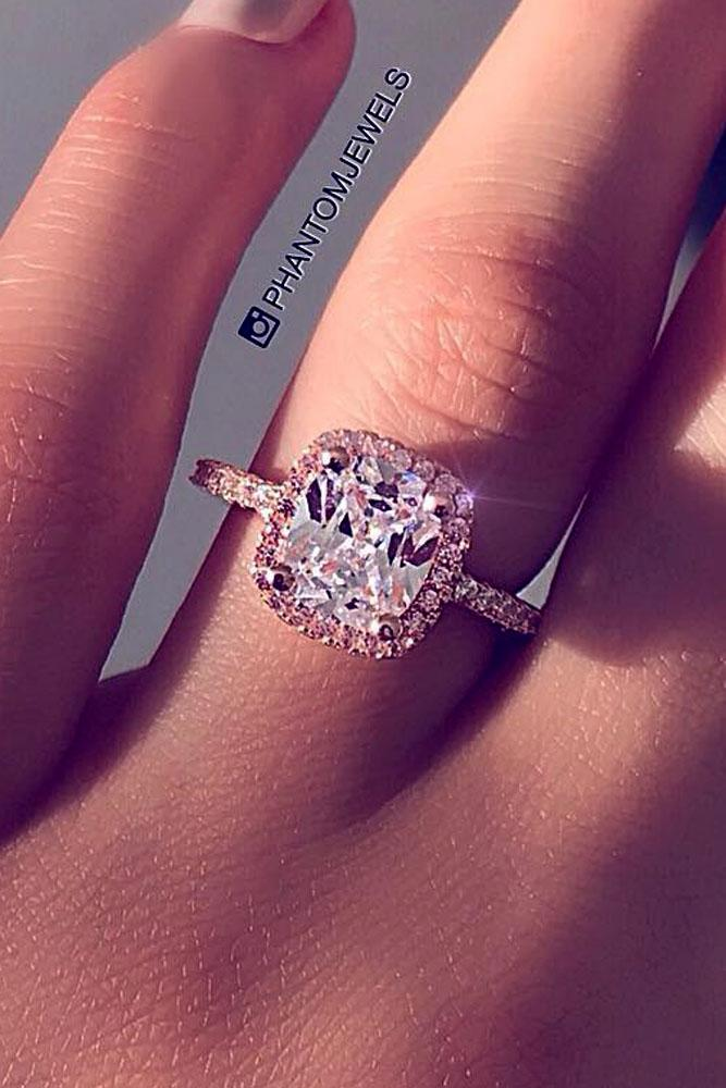 cushion cut engagement rings halo silver pave band