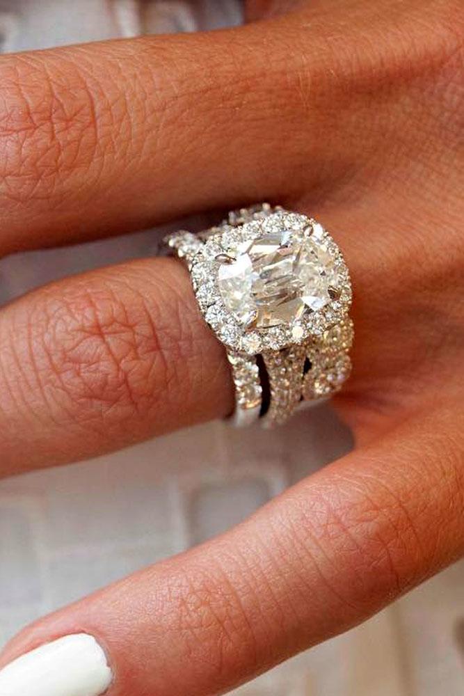 cushion cut engagement rings halo white gold center diamond