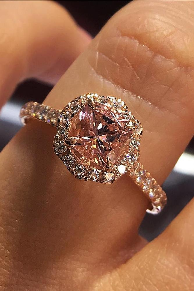 cushion cut engagement rings morganite floral halo rose gold