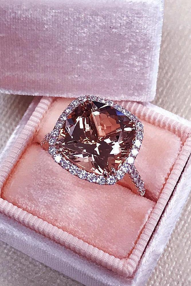 cushion cut engagement rings morganite halo pave band rose gold