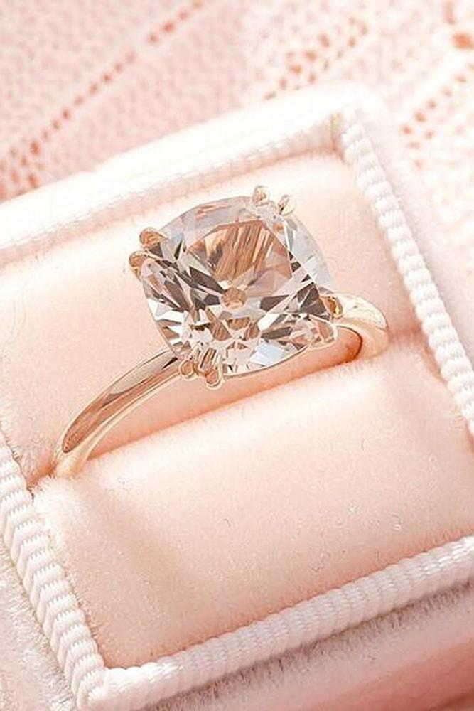 cushion cut engagement rings morganite rose gold solitaire