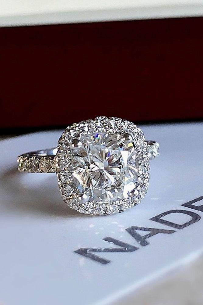 cushion cut engagement rings pave band halo center diamond white gold