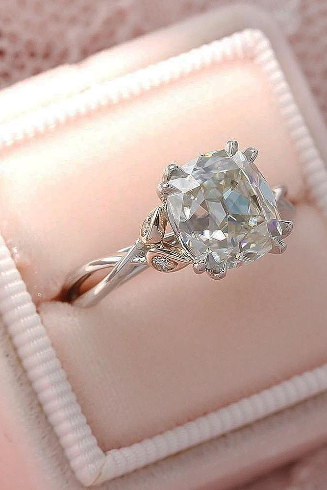 cushion cut engagement rings rose gold solitaire