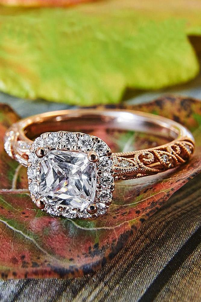 cushion cut engagement rings rose gold vintage halo diamond
