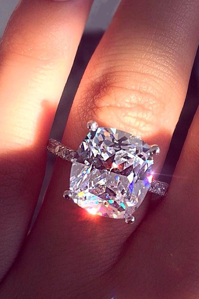 cushion cut engagement rings silver center-stone-pave-band