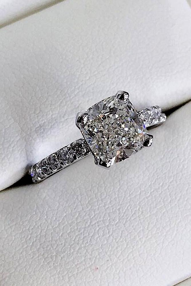 21 cushion cut engagement rings which give a shine