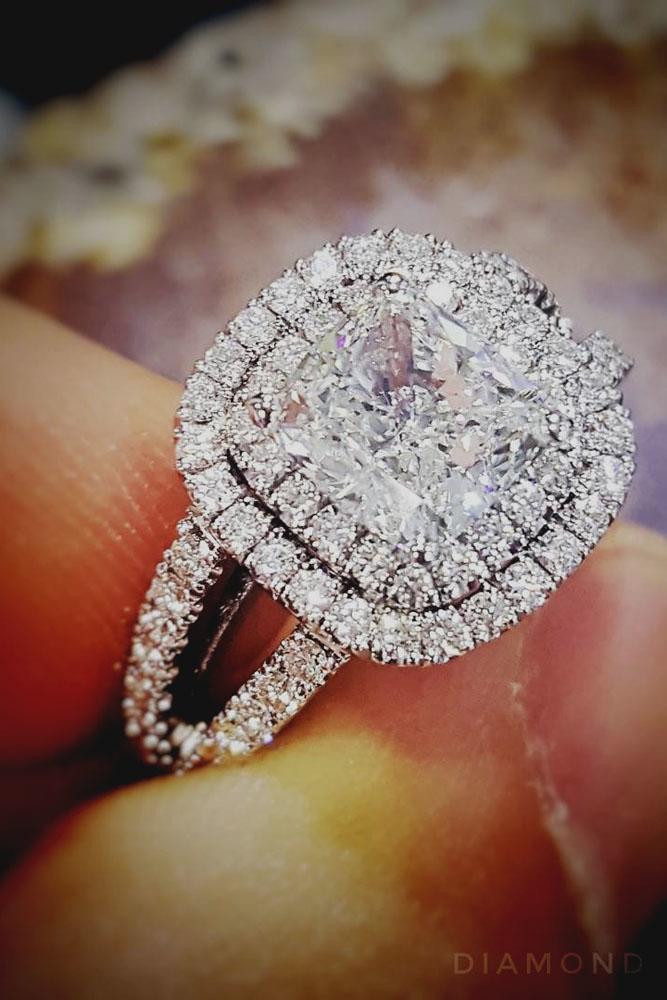 cushion cut engagement rings split double halo white gold