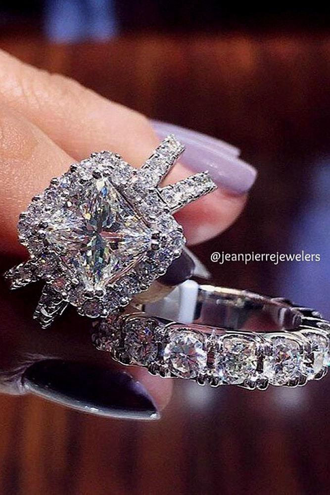 cushion cut engagement rings split white gold halo pave band