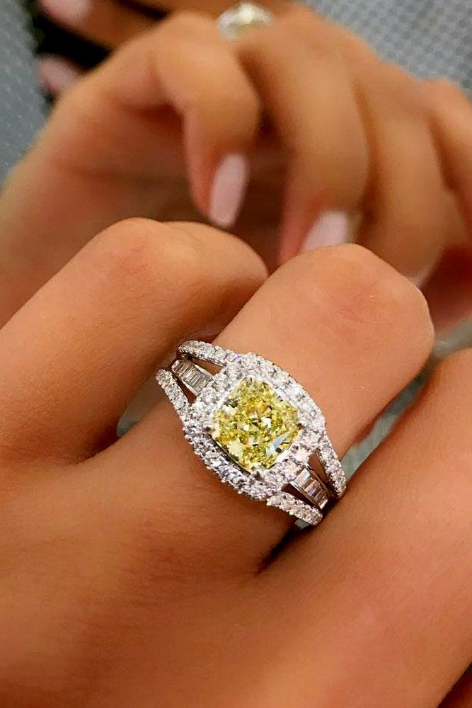 cushion cut engagement rings unique white gold with yellow diamond
