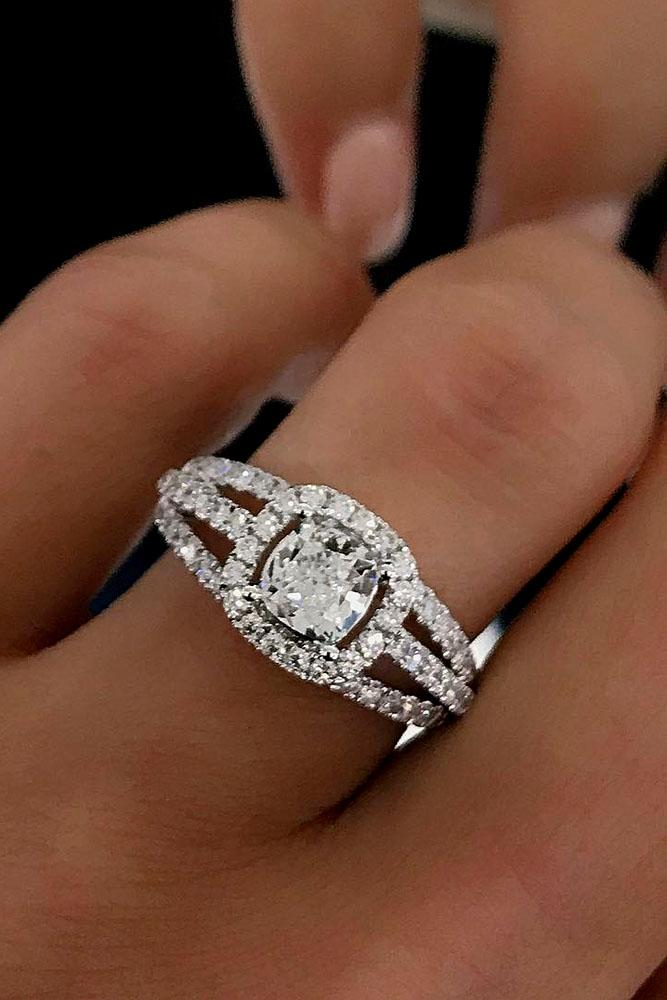 cushion cut engagement rings unique white gold halo