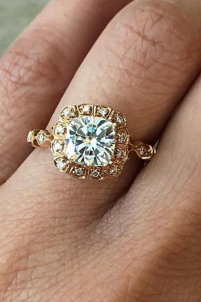 cushion cut engagement rings vintage yellow gold diamond