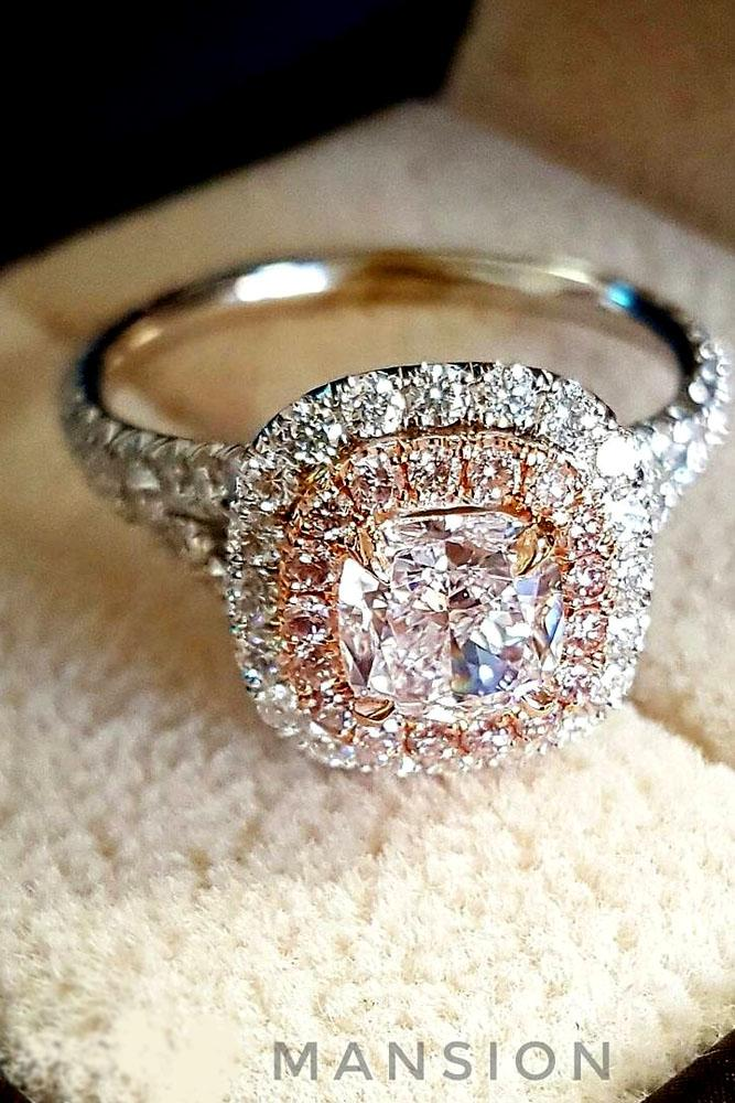 cushion cut engagement rings white and rose gold halo pave band