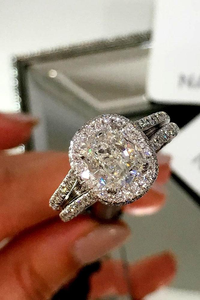 cushion cut engagement rings white gold halo center diamond