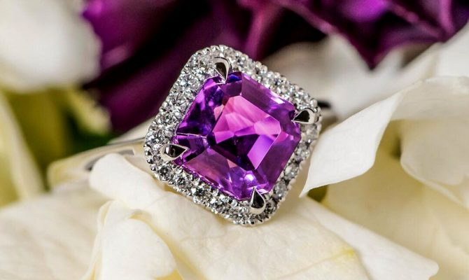 cushion cut engagement rings with amethyst in halo