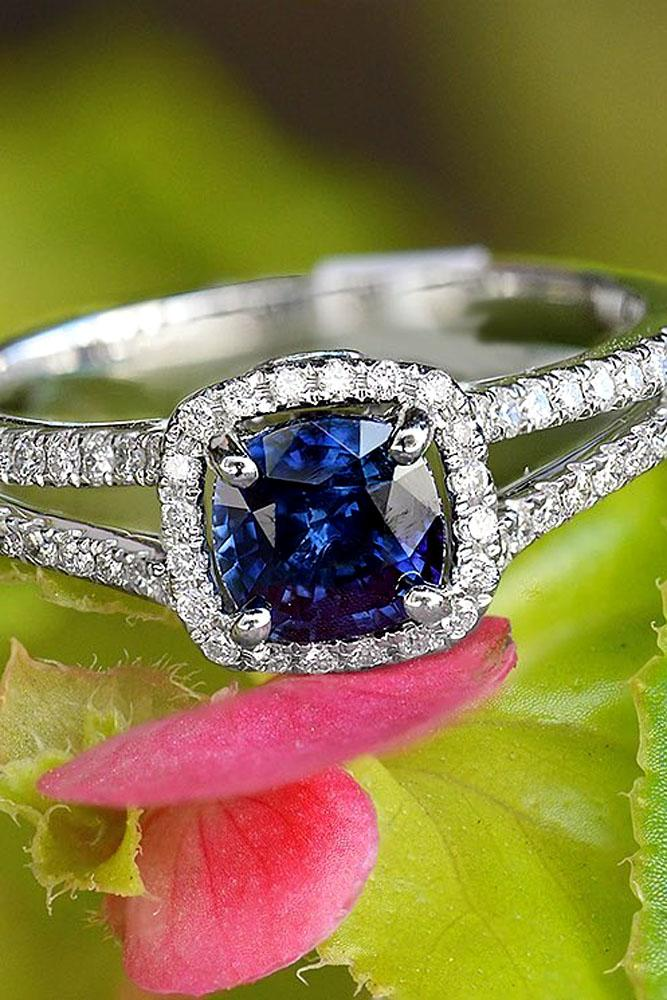 cushion cut engagement rings with halo and sapphire