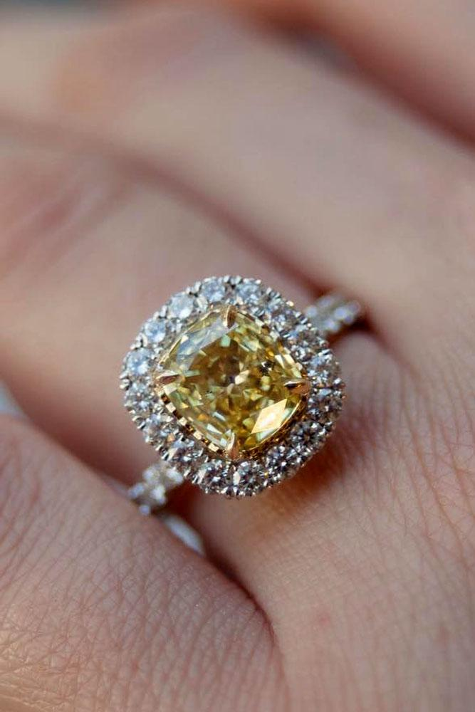 cushion cut engagement rings yellow center diamond pave band