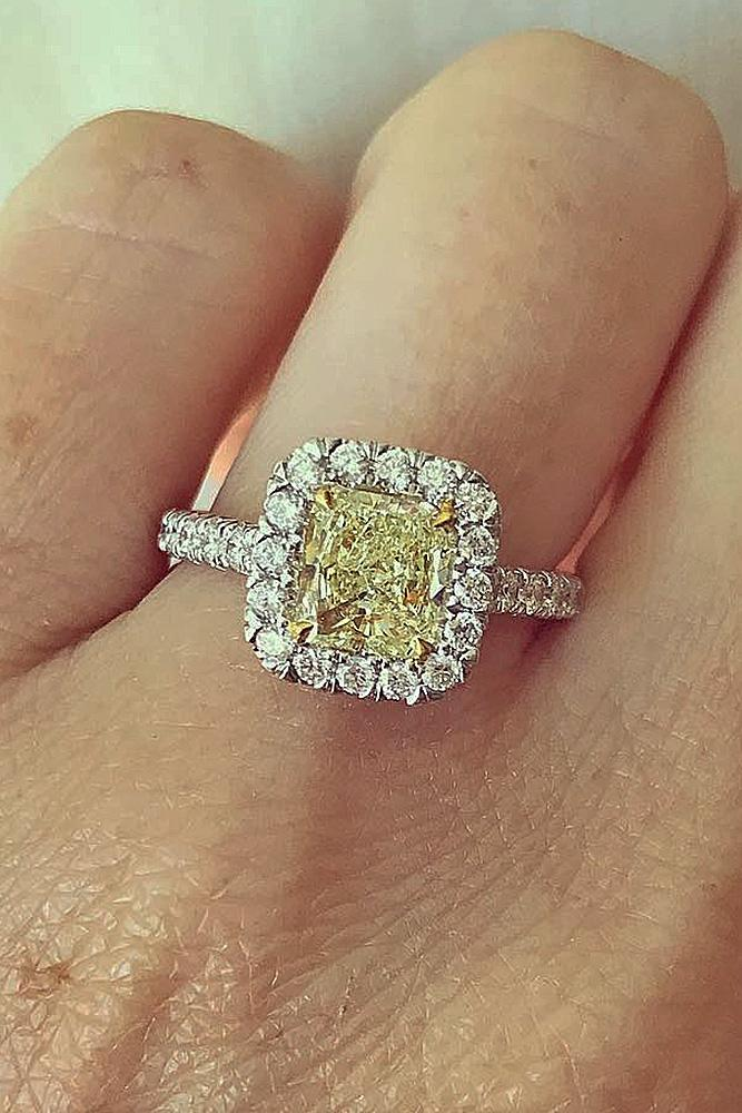 cushion cut engagement rings yellow diamond halo pave band