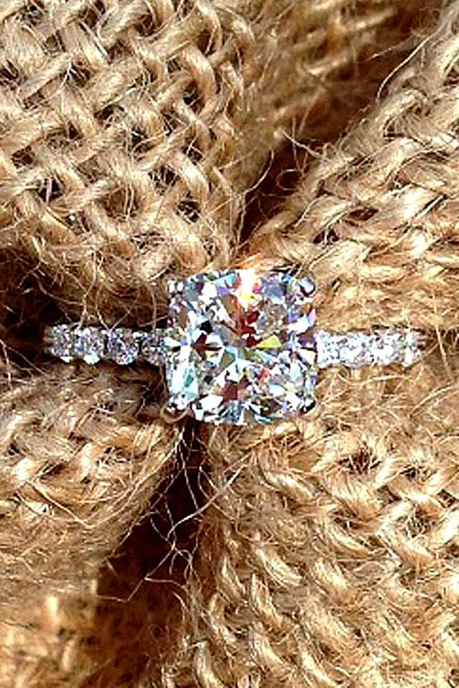 diamond cushion cut engagement ring simple diamond pave band