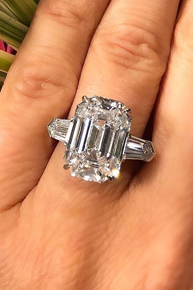 diamond engagement rings emerald cut soltaire modern