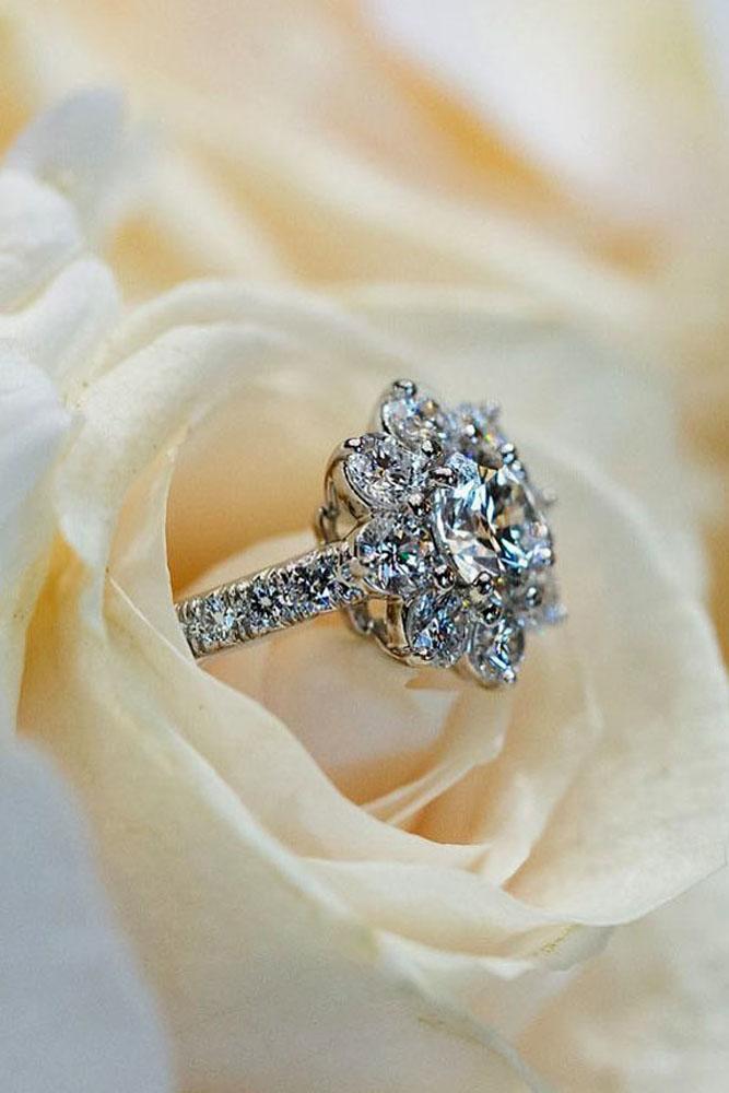 diamond engagement rings floral halo round cut diamond white gold