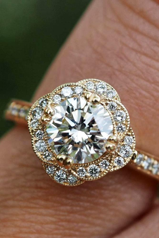 diamond engagement rings floral ring rose gold